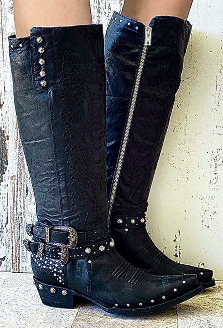 "L3322-1 OLD GRINGO LAFERT MIDNIGHT BLACK EXCLUSIVE 15"" STUDDED BELTED ROCKER LEATHER BOOTS"