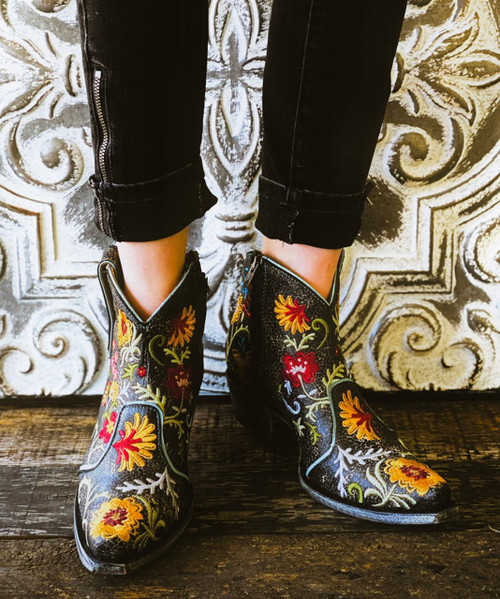 YBL3356-1 OLD GRINGO YIPPEE FREE MY SOUL FLORAL DISTRESSED BLACK ANKLE BOOTS