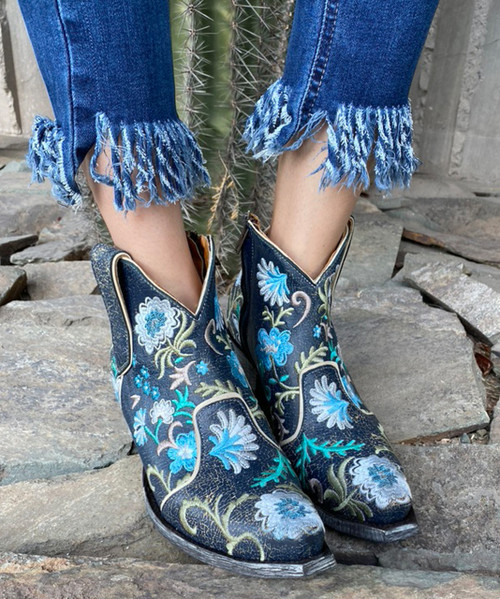 YBL3356-2 OLD GRINGO YIPPEE FREE MY SOUL FLORAL DISTRESSED NAVY NIGHT ANKLE BOOTS