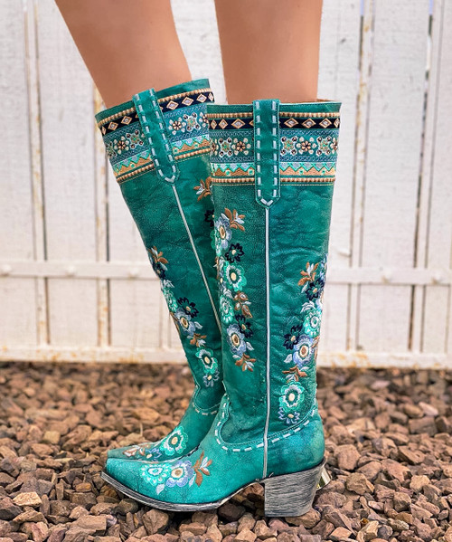 """L3346-1 OLD GRINGO PACHAMAMA TURQUOISE FLORAL EMBROIDERED 17"""" TALL LEATHER BOOTS"""