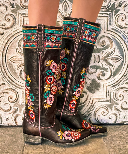 "L3346-2 OLD GRINGO PACHAMAMA EXPRESSO BROWN FLORAL EMBROIDERED 17"" TALL LEATHER BOOTS"