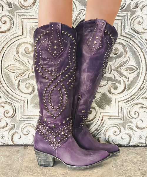 "L 903-38 OLD GRINGO BELINDA VESUVIO VIOLET PURPLE 18"" TALL LEATHER BOOT"