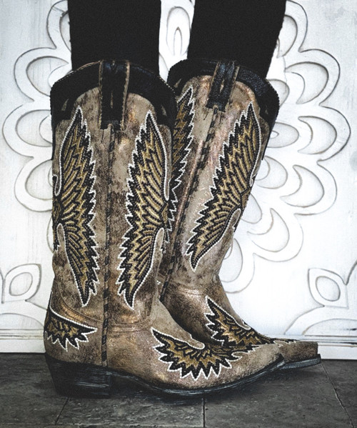 "L3297-5 OLD GRINGO EAGLE STITCH METALLIC CRACKLE SABLE EMBROIDERED 13"" LEATHER BOOTS"