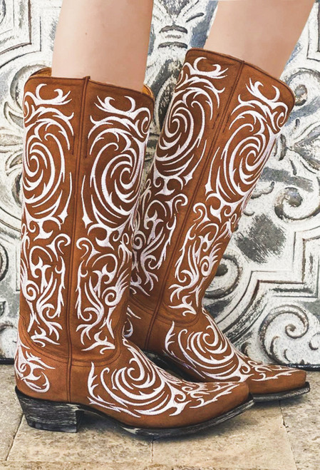 "L 221-12 OLD GRINGO MADONA CARMEL BROWN WHITE EMBROIDERED 15"" LEATHER BOOTS"