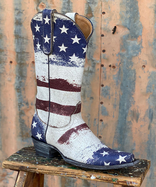 "L3378-1 OLD GRINGO FAIRVIEW HORRAY 4 THE RED WHITE & BLUE 13"" LEATHER BOOTS"