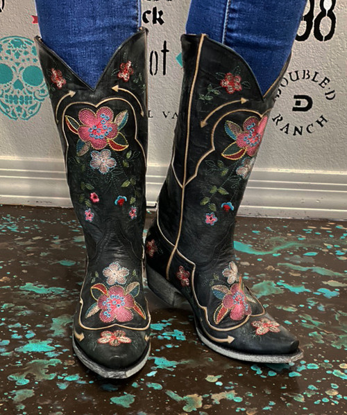 "L 696-15 OLD GRINGO BONNIE PIPIN VESUVIO BLACK PINK BLUE FLORAL 13"" LEATHER BOOTS"