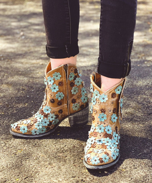 """L 840-10 OLD GRINGO HIPPIE CHICK BONE TURQUOISE ORYX 7"""" ANKLE BOOTS"""