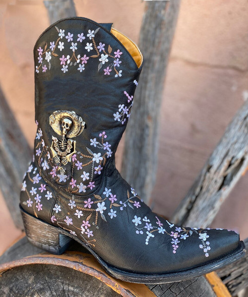 "L3388-2 OLD GRINGO KATRINA VESUVIO BLACK VIOLET SILVER 10"" LEATHER BOOTS"