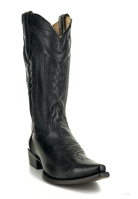 "C3068 CORRAL MEN'S BLACK WOVEN LEATHER 12"" COWBOY BOOTS"