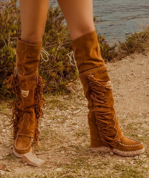 EL VAQUERO Coleen Drifter Silverstone Mou Wedge Moccasin Boots