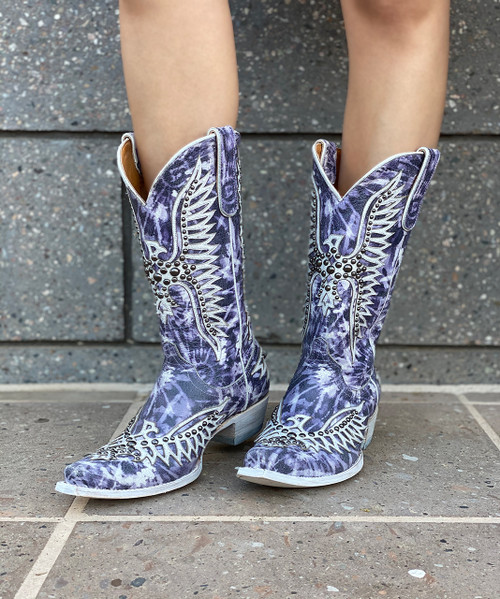 "L3290-3 OLD GRINGO FAIRVIEW INDIGO WHITE TYE DYE 13"" LEATHER BOOTS"