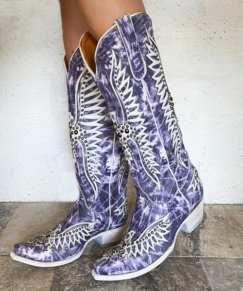 "L3290-3 OLD GRINGO FAIRVIEW INDIGO WHITE TYE DYE 15"" LEATHER BOOTS"