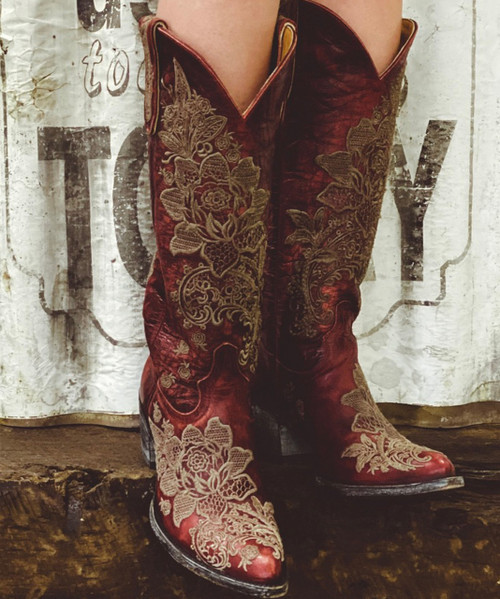 "L2310-3 OLD GRINGO NICOLETTE VESUVIO RED EMBROIDERED LACE 15"" TALL LEATHER BOOTS SINTINO/SINTINO"