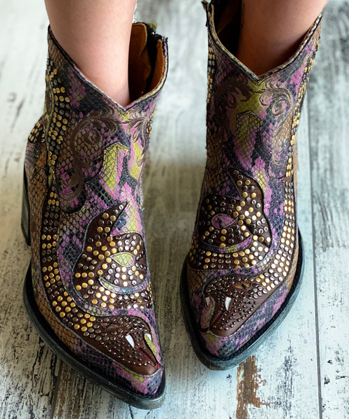 L1177-14 OLD GRINGO SNAKE PRINT PINK/MOSS/AMBER/BLACK GOLD RIVETED LEATHER ANKLE BOOTS