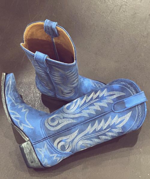 "L 175-446 OLD GRINGO NEVADA  VINTAGE AZUL BLUE 13"" LEATHER BOOTS"