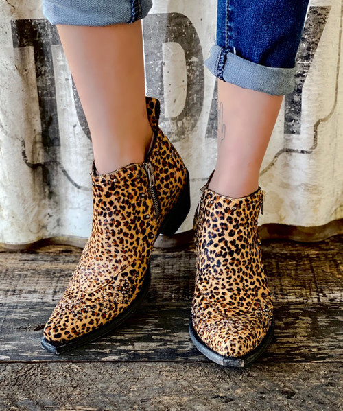 SHL3293-3 OLD GRINGO CALLIE CHEETAH PRINT HAIR ON HIDE STUDDED SHOE BOOT