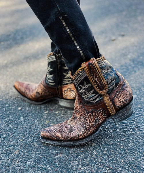 """L1697-6 OLD GRINGO POLO CHALE QUEENSWOOD 7"""" HANDTOOLED SNIP TOE/9964 HEEL ANKLE BOOTS"""