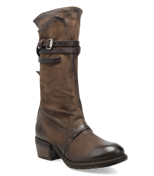 A.S.98 CARTER CHOCOLATE BROWN LEATHER STACKED HEEL BOOTS