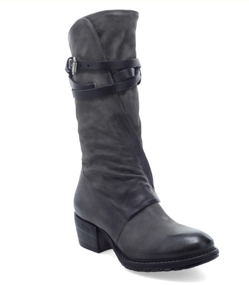 A.S.98 CARTER SMOKE GRAY LEATHER STACKED HEEL BOOTS