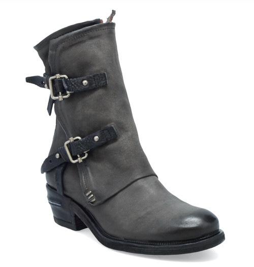 A.S.98 IRVING SMOKE GRAY LEATHER ANKLE BOOT