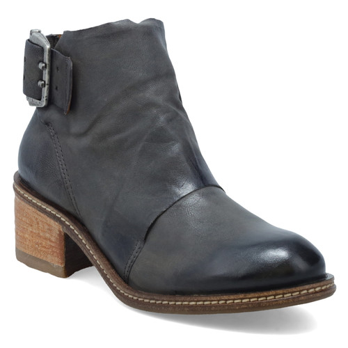 A.S.98 WALLIS SMOKE GRAY LEATHER BUCKLE ANKLE BOOTIE