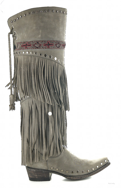 "DDL019-3 DOUBLE D RANCH GRAY NUBUCK PLAIN MESSENGER FRINGE 20"" BEADED TALL BOOTS"