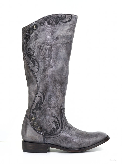 "L1067-4 OLD GRINGO PROCELLA 16"" GRAY LEATHER RIDING BOOTS"