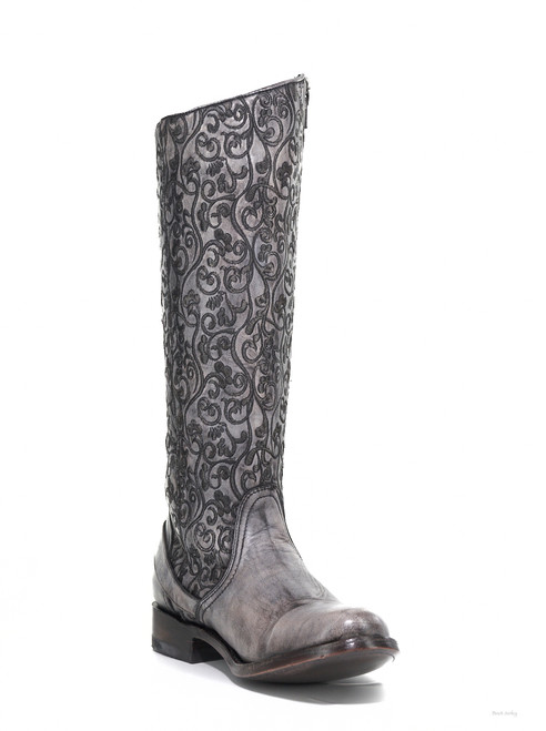 "L1068-4 OLD GRINGO FLAMMA 15"" GRAY LEATHER EQUESTRIAN WOMENS BOOT"