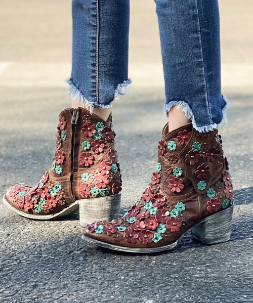"""L 840-18 OLD GRINGO HIPPIE CHICK BRASS AQUA RED 7"""" ANKLE BOOTS"""