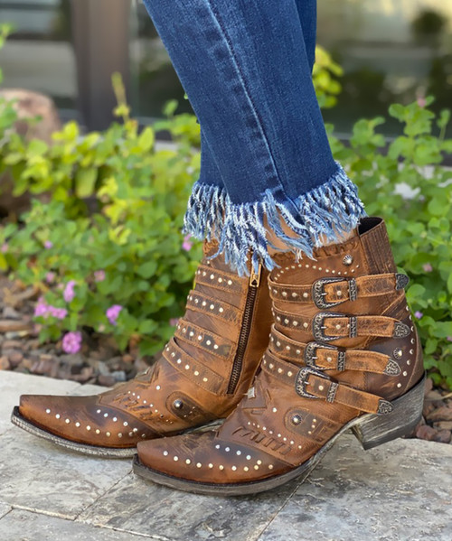 BL3099-6 OLD GRINGO JAYLENE DISTRESSED SADDLE LEATHER ANKLE BOOTS