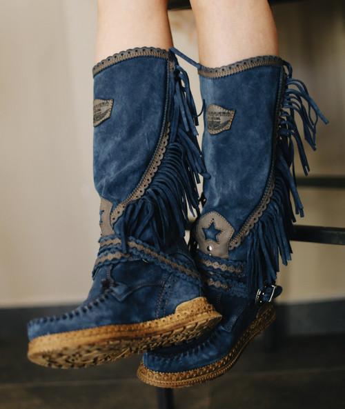 EL VAQUERO Jade Silverstone Noctis Blue Leather Moccasin Boots