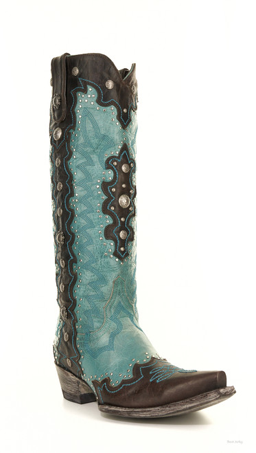 """L2680-1 OLD GRINGO LAMANI 15"""" BLUE/CHOCOLATE STUDDED LEATHER COWGIRL BOOT"""
