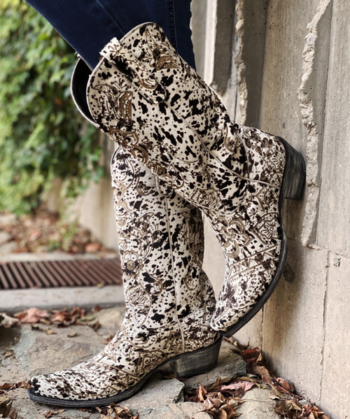 """L1707-8 OLD GRINGO OLIVIA L.S. 13"""" COW PRINT COWGIRL BOOT"""