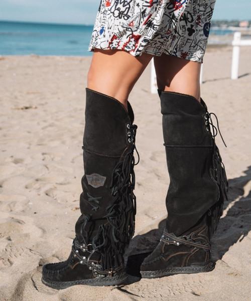 EL VAQUERO Delilah Silverstone Carbon Black Wedge Moccasin Boots