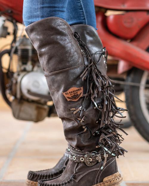 EL VAQUERO Delilah Apex Barrel Brown Fur Wedge Moccasin Boots