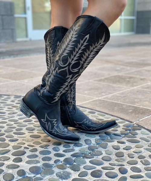 "L1213-31-RF Old Gringo Mayra Bis Vesuvio Black 18"" Snip Toe Leather Boots"