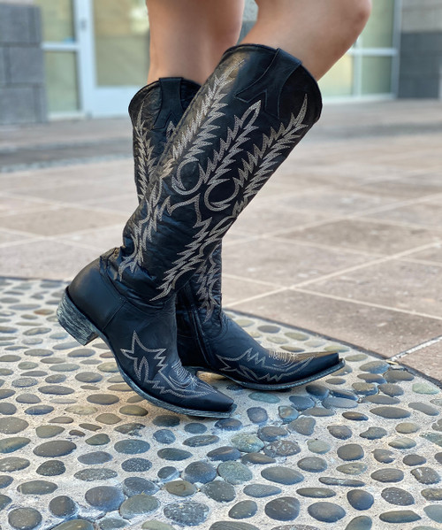"""L1213-31-RELAXED FIT Old Gringo Mayra Bis Vesuvio Black 18"""" Snip Toe Leather Boots"""