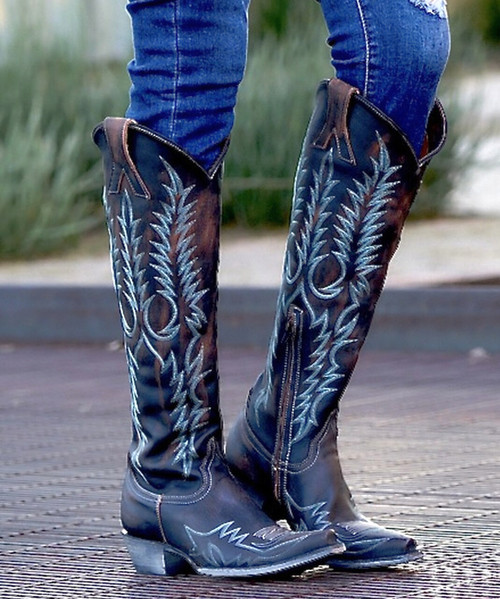 "L1213-11-RF OLD GRINGO MAYRA BIS RUSTIK SHEDRON TURQUOISE EMBROIDERED 18"" BOOTS"