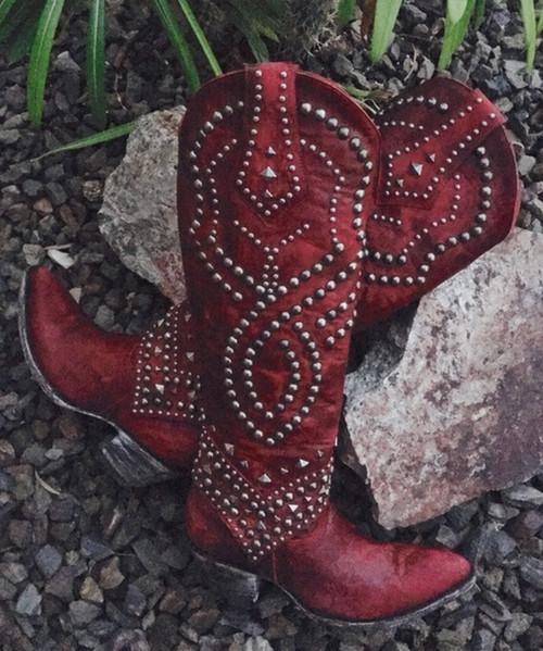 L 903-25-RF OLD GRINGO BELINDA VESUVIO RED COWGIRL BOOTS (Sintino Toe/Heel)