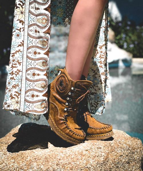 EL VAQUERO Sophie Apex Tan  Leather Wedge Moccasin Boots