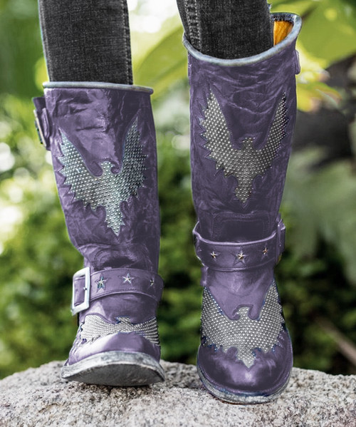 "L1357-19 OLD GRINGO IRON EAGLE 12"" VESUVIO PURPLE DISTRESSED RIVETED BIKER BOOTS"