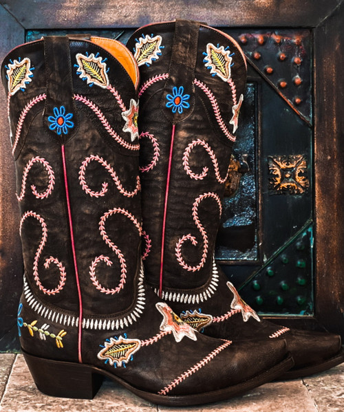 "YL 270-2 YIPPEE KI YAY BY OLD GRINGO HIPOLITA 13"" CHOCOLATE LEATHER FLORAL COWGIRL BOOT"