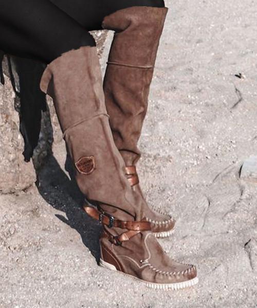 EL VAQUERO Huntress Silverstone Sabbia BoHo Over The Knee Leather Boots