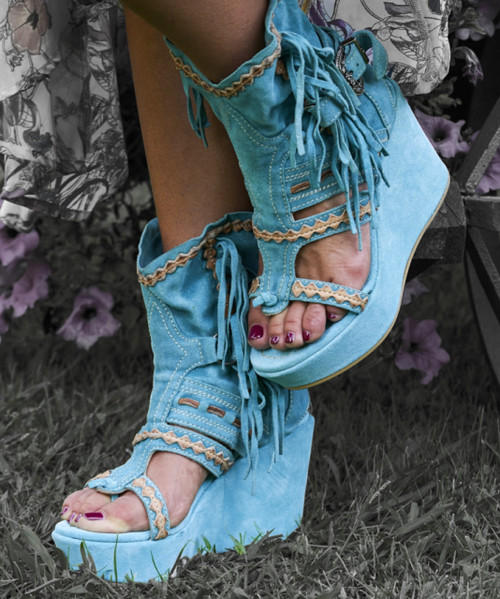 EL VAQUERO Vesta Worn-out Marine Turquoise Wedge Sandals