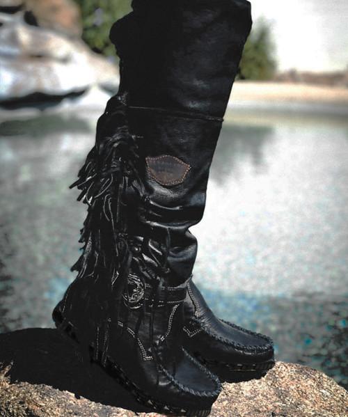 EL VAQUERO Delilah Wild Void Italian Leather  Wedge Moccasin Boots
