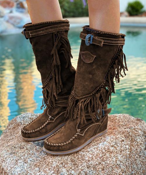 EL VAQUERO Joplin Silverstone Tobacco Leather Wedge Moccasin Boots