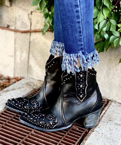 "BL3316-1 ILONA 7"" BLACK LEATHER OVERLAY STUDDED ANKLE BOOT"