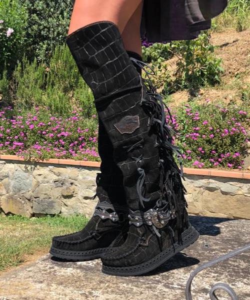 EL VAQUERO Delilah Crocus Dark Wedge Moccasin Boots