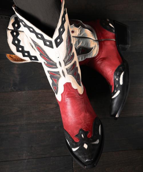 "L 026-49 OLD GRINGO MONARCA RED BLACK WHITE VINTAGE 12"" LEATHER BOOTS"
