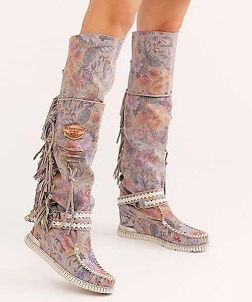 EL VAQUERO Delilah Freedom Pink Print Leather Wedge Moccasin Boots